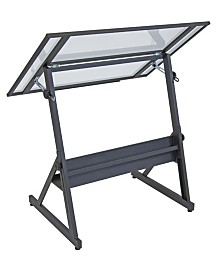 Offex Solano Adjustable Drafting Table - Charcoal/Clear