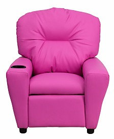 Offex Contemporary Hot Pink Vinyl Kids Recliner with Cup Holder