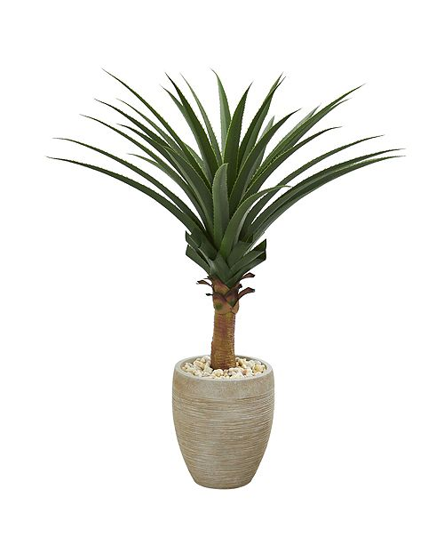 Nearly Natural Agave Artificial Plant in Sand Colored Planter