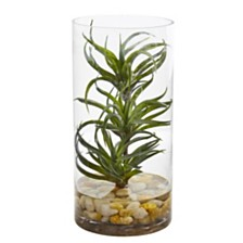 Nearly Natural Air Plant Artificial Succulent in Glass Vase