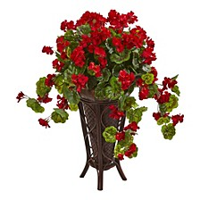 Geranium Artificial Plant in Stand Planter
