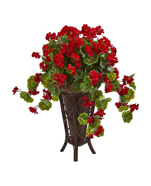 Nearly Natural Geranium Artificial Plant in Stand Planter
