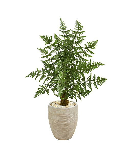 Nearly Natural Ruffle Fern Palm Artificial Tree in Sand Colored Planter