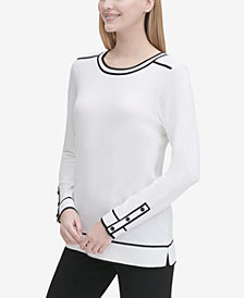 Calvin Klein Contrast-Piped Crewneck Sweater