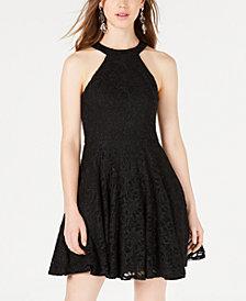 B Darlin Juniors' Glitter Lace Fit & Flare Dress