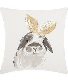 Mina Victory Trendy, Hip and New Age Glitter Bunny Ears Decorative Pillow