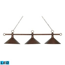 Designer Classics 3-Light Billiard/Island in Antique Copper with Hand Hammered Iron Shades - LED, 800 Lumens