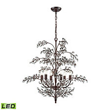 Winterberry 6 Light Chandelier in Antique Darkwood with Clear Glass Balls