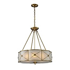 Preston 6-Light Pendant in Solid Brushed Brass