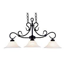 Buckingham 3-Light Linear in Matte Black with White Glass