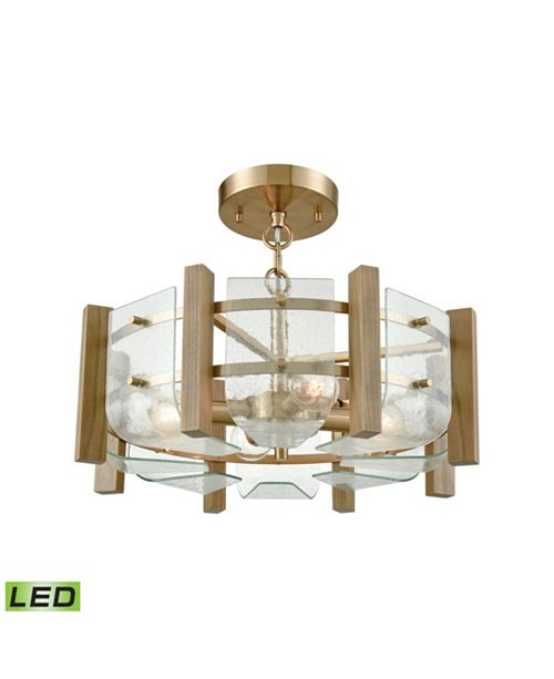 Vindalia 4 Light Semi Flush In Satin Br With Wood Slats And Curved Gl