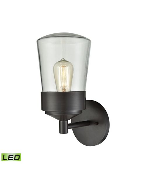 ELK Lighting Mullen Gate 1 Light Outdoor Wall Sconce in Oil Rubbed Bronze with Clear Glass
