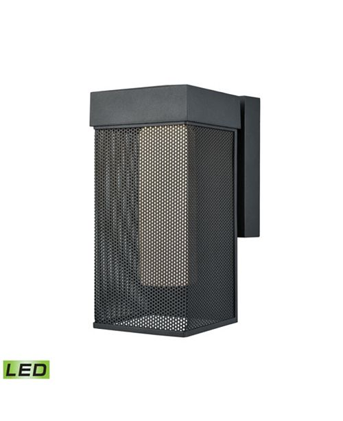ELK Lighting Estacada Dimmable LED Outdoor Wall Sconce in Matte Black with Opal White Glass
