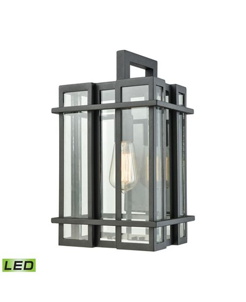 Gl Tower 1 Light Outdoor Wall Sconce In Matte Black With Clear