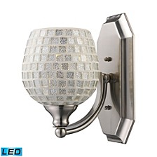 1 Light Vanity in Satin Nickel and Silver Mosaic Glass - LED Offering Up To 800 Lumens (60 Watt Equivalent)