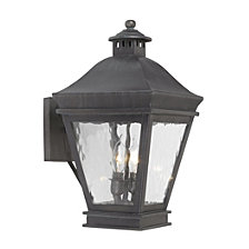 Artistic Ltg-Wall Lantern, Charcoal, Water Glass