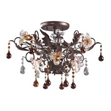 Cristallo Fiore Collection 3-Light Semi-Flush Mount in Deep Rust with Drops of A
