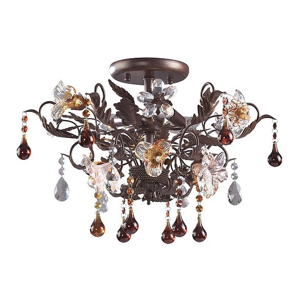 ELK Lighting Cristallo Fiore Collection 3-Light Semi-Flush Mount in Deep Rust with Drops of A
