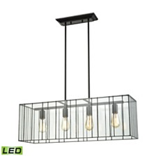 Lucian 4 Light Chandelier in Oil Rubbed Bronze with Clear Glass