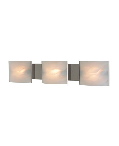 ELK Lighting Pannelli Vanity - 3 Light with Lamps. White Alabaster Glass / SS Finish