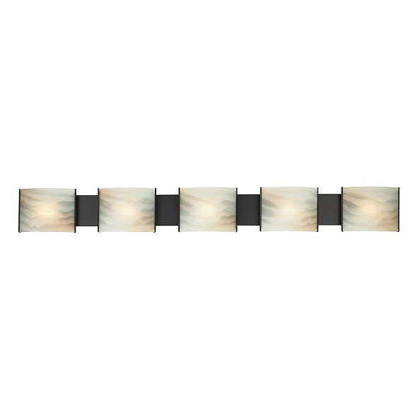 ELK Lighting Pannelli Five Lamp Vanity with Honey Melon Glass and ORB Finish