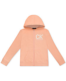 Calvin Klein Big Girls Monogram French Terry Hoodie
