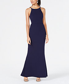 Speechless Juniors' Tie-Back Halter Gown