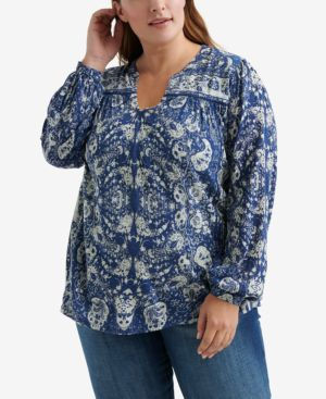 LUCKY BRAND Plus Size Printed Peasant Top in Blue Multi