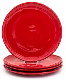 EuroCeramica Algarve 4 Piece Red Dinner Plate Set