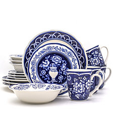 EuroCeramica Blue Garden 16 Piece Hand-painted Dinnerware Set