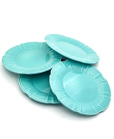 EuroCeramica Chloe 4 Piece Turquoise Dinner Plate Set