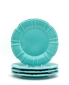 EuroCeramica Chloe 4 Piece Turquoise Salad Plate Set