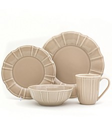 Chloe 16 Piece Taupe Dinnerware Set