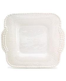 EuroCeramica Sarar White Square Platter with Handles