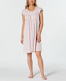 Miss Elaine Smocked Printed Knit Nightgown