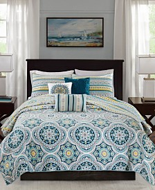 Madison Park Mercia 6-Pc. Full/Queen Reversible Cotton Sateen Coverlet Set