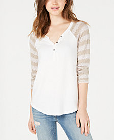 American Rag Juniors' Crochet-Sleeve Henley Top, Created for Macy's