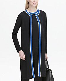 Calvin Klein Varsity-Stripe Bordered Knit Jacket
