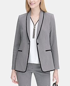 Calvin Klein Petite Piped-Trim Blazer