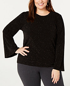 MICHAEL Michael Kors Plus Size Diamond-Print Bell-Sleeve Top