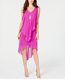 Thalia Sodi High-Low Flutter Dress with Necklace, Created for Macy's