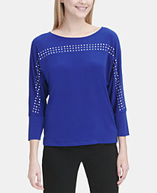 Calvin Klein Embellished 3/4-Sleeve Top