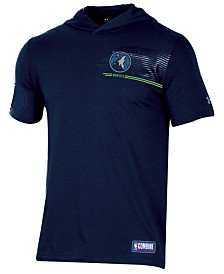 Under Armour Men's Minnesota Timberwolves Baseline Short Sleeve Hooded T-Shirt