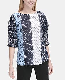 Calvin Klein Mixed-Print Ruffled-Sleeve Top