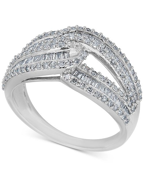 Macy's Diamond Intersecting Baguette Ring (1 ct. t.w.) in 14k White Gold