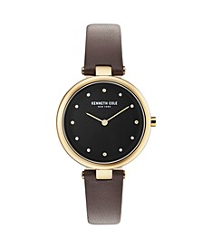 Ladies Black Leather Strap Watch 34mm
