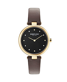 Kenneth Cole New York Ladies Black Leather Strap Watch 34mm