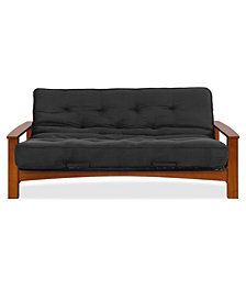 """Simmons Vancouver Vintage Oak Futon Frame With 8"""" Beautyrest Pocketed Coil Innerspring Futon Mattress"""