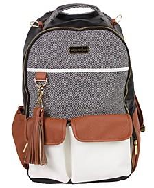 Boss Backpack Diaperbag- Black Herringbome