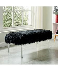 Raven II Faux Fur Acrylic Bench